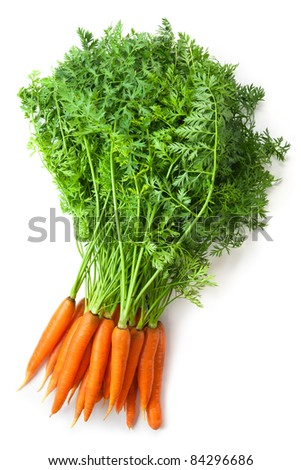 Big bunch of fresh carrots with green tops. Isolated on white. - stock photo