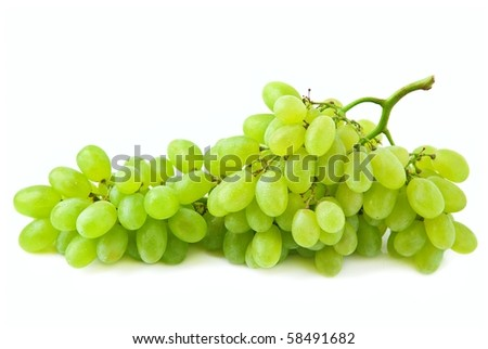 big bunch of green grapes isolated on white background. - stock photo