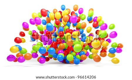 Big bunch of party balloons. Forming a explosion. Isolated on white background.