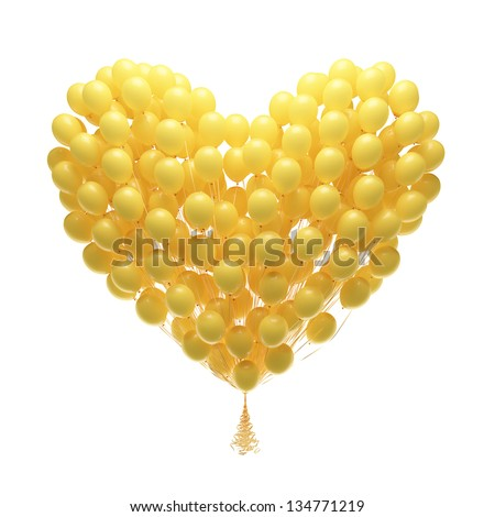 Big bunch of party balloons.Heart shape. Isolated on white background.