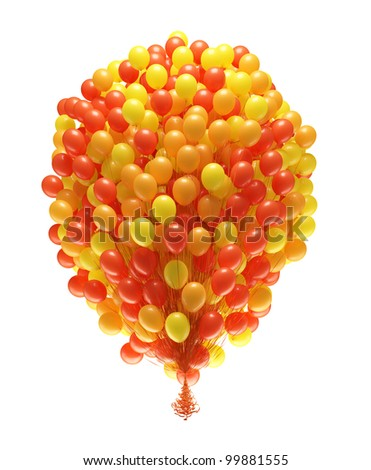 Big bunch of party balloons. Isolated on white background. - stock photo