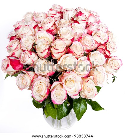 big bunch of rose roses - stock photo