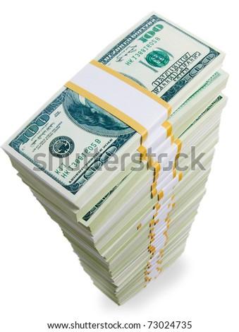 big bundle of money - stock photo