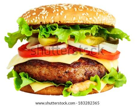 Big burger isolated on white - stock photo