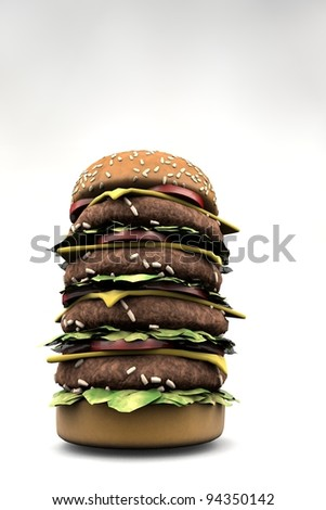 Big burger sandwich isolated on white - stock photo