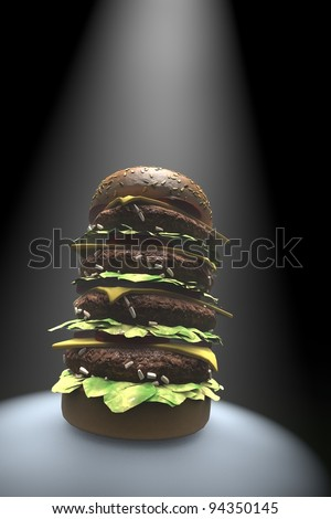 Big burger sandwich on black moody background - stock photo
