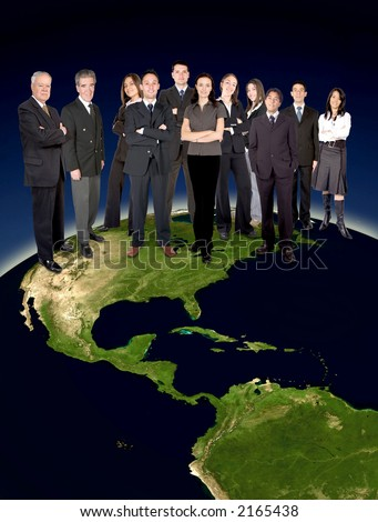 big business team on top of the world - showing america map globe from nasa.gov - stock photo