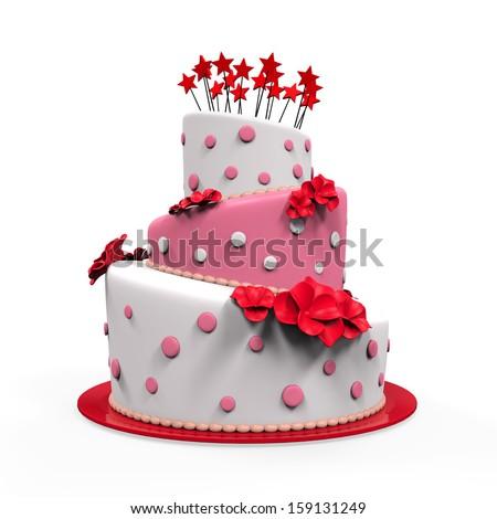 Big Cake Isolated - stock photo