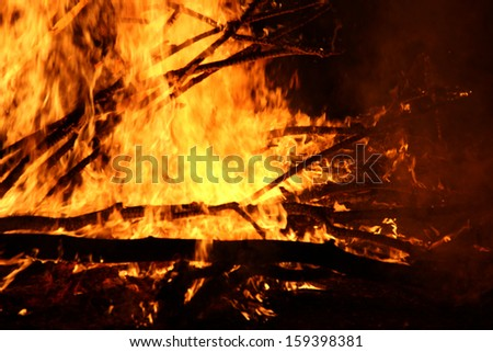 big campfire at the dark - stock photo