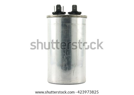 big capacitor, electronic component isolated on white background - stock photo
