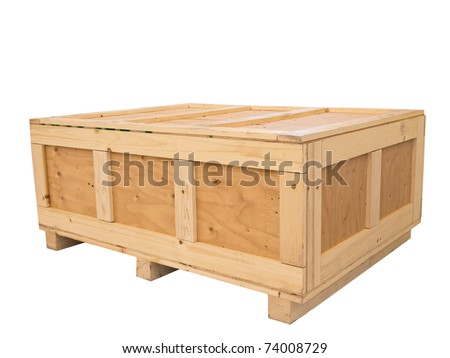 Big cargo wooden crate isolated on pure white background - stock photo