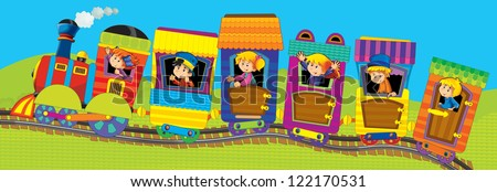 Big cartoon train with kids - illustation for the children - stock photo