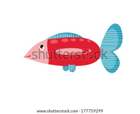 big cartoons red fish on white background - stock photo