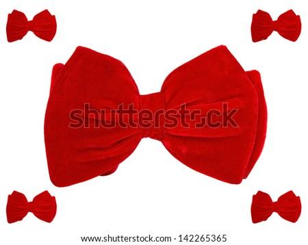 Big center and 4 small bow ties - stock photo