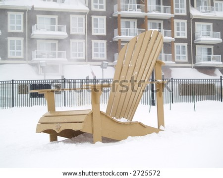 big chair on snow - stock photo