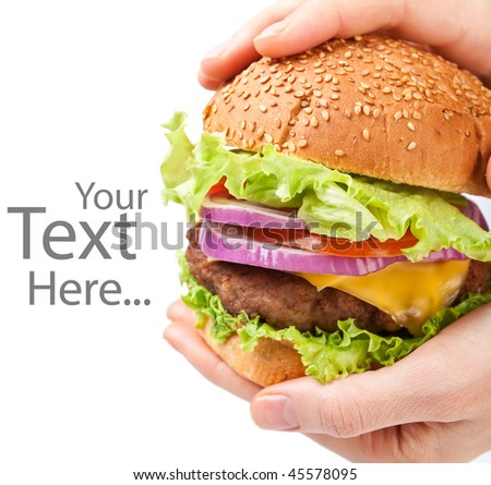 big cheeseburger holding in hands - stock photo