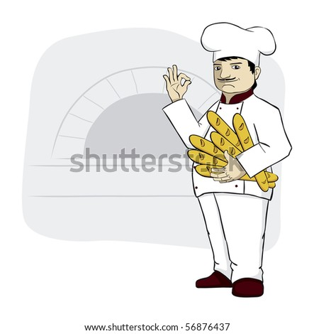 Big chef is holding fresh bread, baguettes. - stock photo