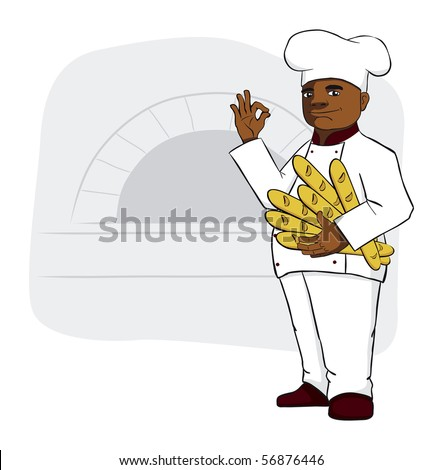 Big chef is holding fresh bread, baguettes.