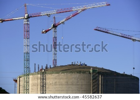 Big chemical tank petrol container on oil petrochemical industry - stock photo