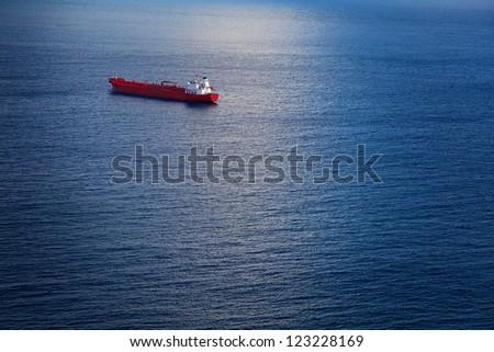 Big Chemical Tanker in the Atlantic Ocean - stock photo