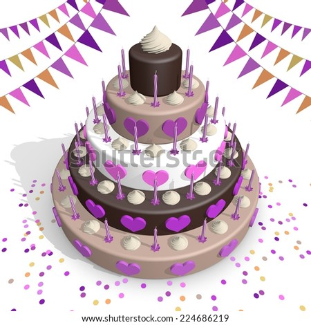 Big chocolate cake with 5 layers, decorated with pink hearts. Surrounded by colorful flags and confetti. - stock photo