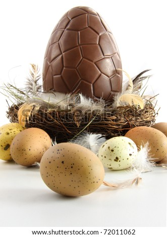 Big chocolate easter egg in nest with feathers on white - stock photo