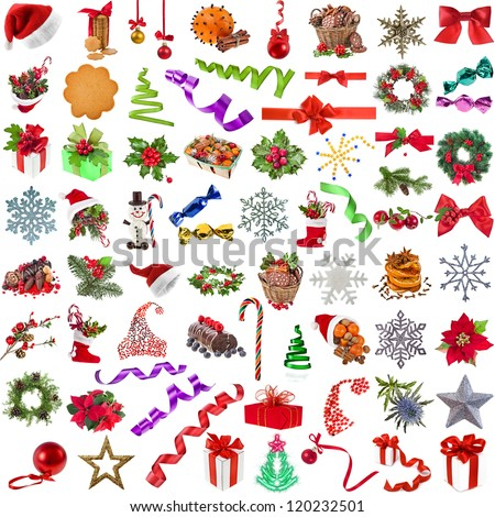 Big christmas collection set of different colorful close up objects , isolated on a white background - stock photo