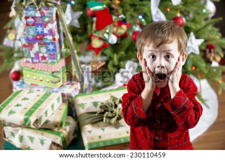 big christmas surprise / the young lad is astonished / by all of the gifts - stock photo