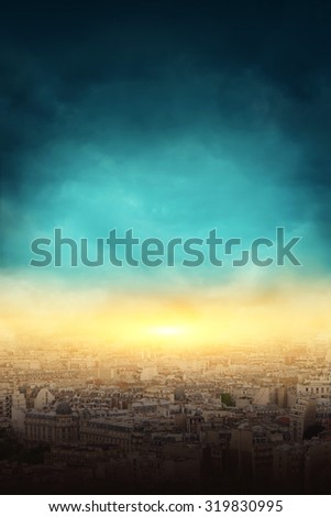 Big city and the explosion and dark sky - stock photo