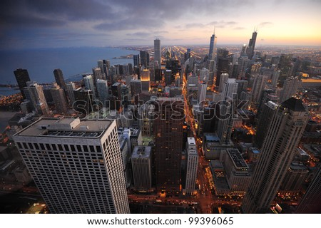 big city building at night from chicago - stock photo