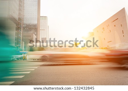 Big city car drove past - stock photo