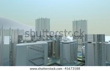 big city cityscape background - stock photo