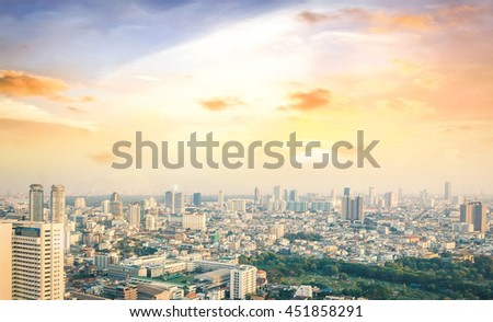 Big city concept. Aerial Amazing Beauty Light Hotel Resident Asia Market Town Glow Sun Hope Nature Brown Industry Capital Backdrop Economy Horizon Night Research Meeting Old Colorful Blue Abstract. - stock photo