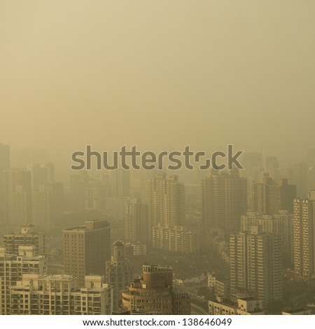 Big city in the fog, shanghai. - stock photo