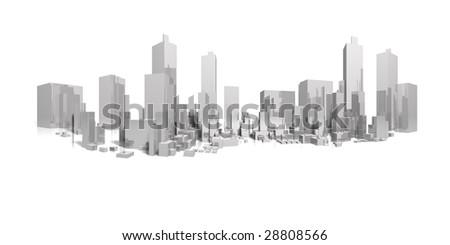 big city long panorama - stock photo