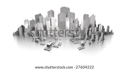 big city skyline extreme panorama - stock photo