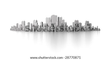big city skyline panorama - stock photo