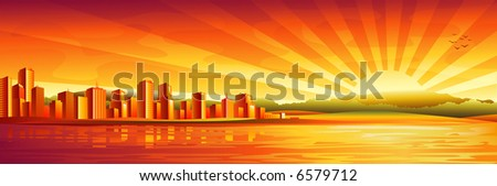 """Big city sunset panorama (2nd version """"Black and white cityscape"""" and other landscapes - in my gallery) - stock photo"""