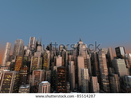 big city with a blue sky - stock photo
