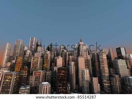 big city with a blue sky - stock photo