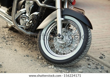 Big, clean, black chopper bike - stock photo