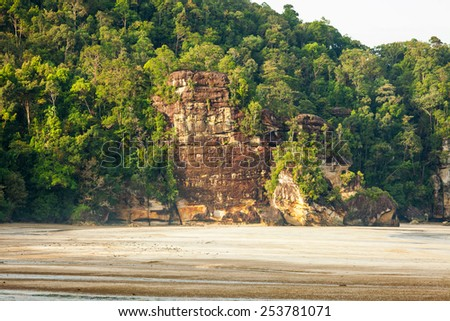 Big cliff rainforest and exotic sand beach - stock photo