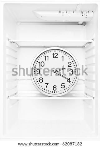 Big Clock in the fridge - stock photo