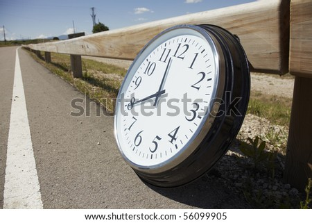 Big clock outdoors - stock photo