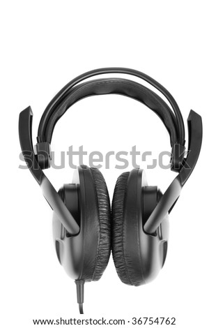 Big closed black earphones isolated on white background