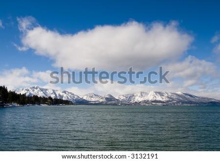Big cloud over Lake Tahoe - stock photo