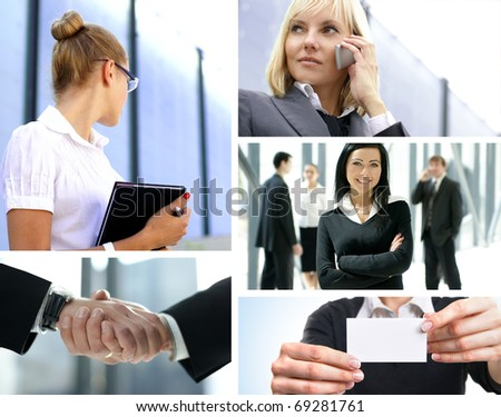 Big collage made of some business shoots - stock photo