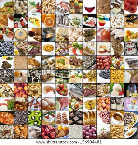 Big collage of food - stock photo
