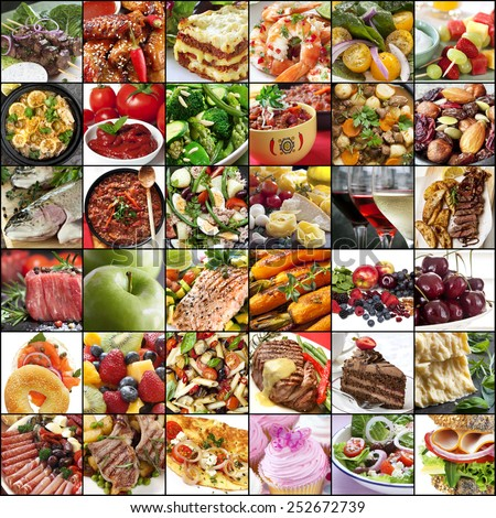 Big collage of food images.  Variety of meals, meat, fish, fruits, vegetables, dairy, salads, desserts. - stock photo