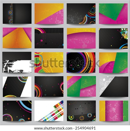 Big collection advertising posters on different topics. - stock photo